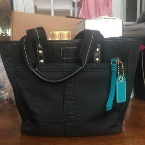 Coach Black Canvas/Leather Bucket Style Bag